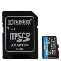 Карта памяти Kingston microSDXC 128Gb V30 UHS-I U3 + SD адаптер